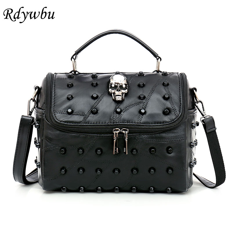 Rdywbu Women Real Split Sheep Leather Messenger Bag Rivet Skull Tote Handbag Travel Crossbody Bolsas Femininas Dollar Price B287 lykanefu fashion black rock skull bag women messenger bags designer handbag clutch purse bag bolsas femininas couro dollar price