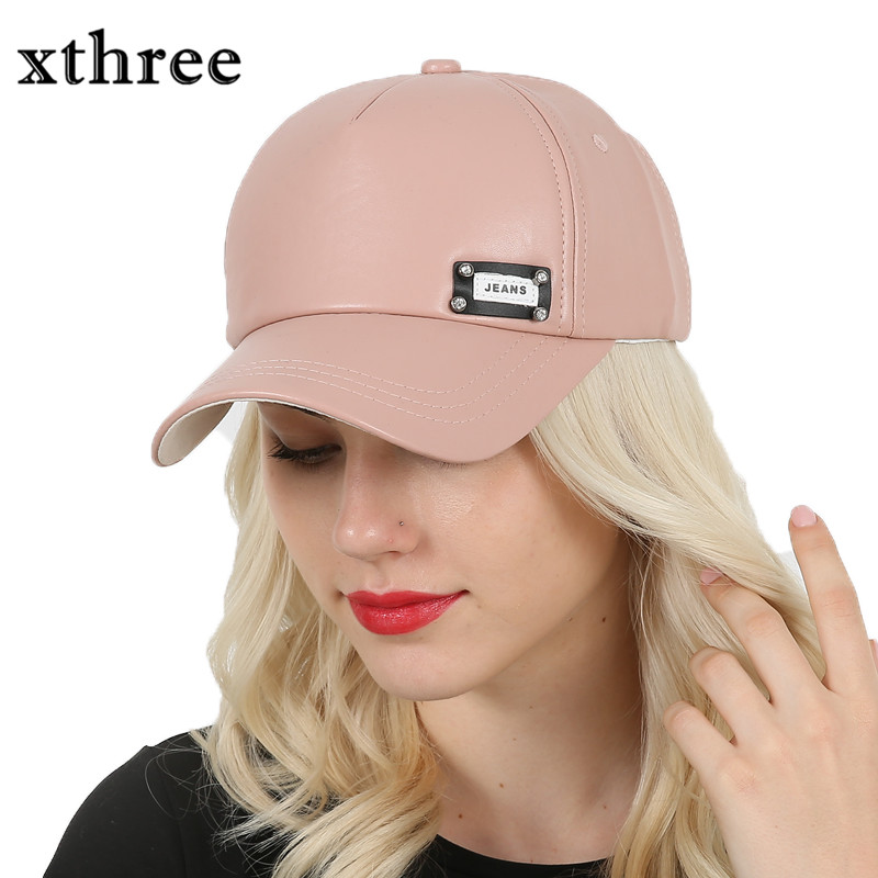 Xthree New fashion faux leather cap women baseball cap fall cap snapback hat for men casquette xthree faux leather baseball cap embroidery deer snapback hat hip hop casquette bone men hats for women