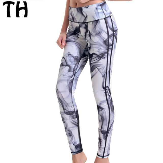 2016 Ink Smog 3D Print Workout Pants Stretch Leggings Women Fitness Leggins Mujer  #160673