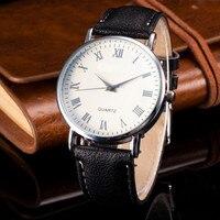 Cindiry Leather Strap Watch for Man Quartz Analog Wrist Watch Men's Roman Scale Quartz Wrist Watches Orologio Uomo Hot Sales