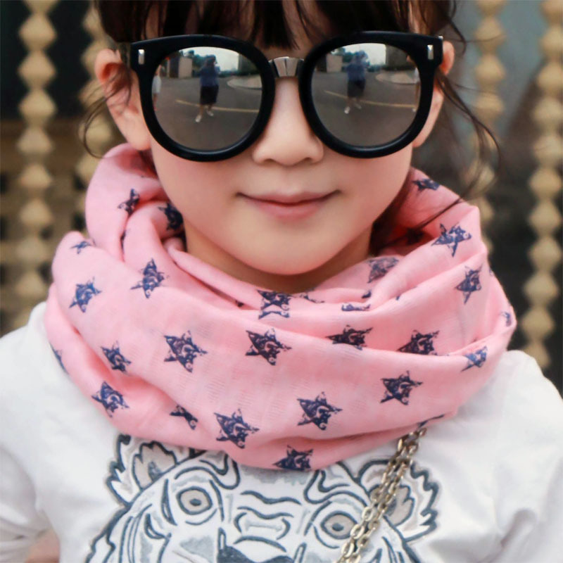 Free Shipping 2018 New Fashionable Cute Kids Autumn Winter Cotton Soft Vintage Star Scarf For Girls Chidren