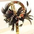 IFFO de gama alta ramo de novia de la boda de encargo del oro de la vendimia, ramo de novia, estilo barroco, ramo de plumas