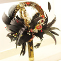 IFFO high-end wedding bride custom gold vintage bouquet, bridal bouquet, baroque style, feather bouquet