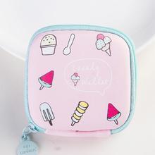 Cute mini square cartoon summer style coin purse wallet sweet girls summer ice cream earphone bag