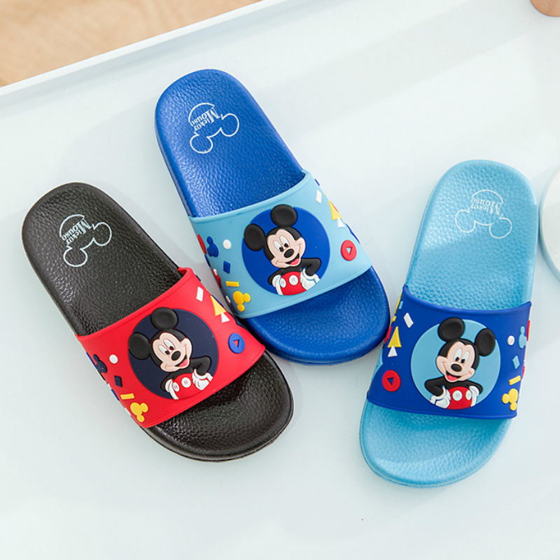 2019 Boys Girls Shoes Baby Slippers Summer Boy Mickey Home Non-slip Sandals Girls Minnie Baby Shoes 17-22cm Blue Pink Purple