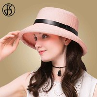 FS Female Summer Hats Straw Black Pink Sun Hat For Women Floppy Beach Travel Visor Caps Casual Foldable Cloche Church Caps