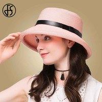 FS Female Summer Hats Straw Black Pink Sun Hat For Women Floppy Beach Travel Visor Caps Casual Foldable Cloche Church Caps