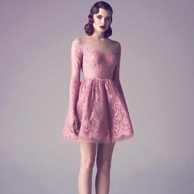 Lovely Pink Long Sleeve Evening Dresses 2016 O neck Arabic Dubai ...