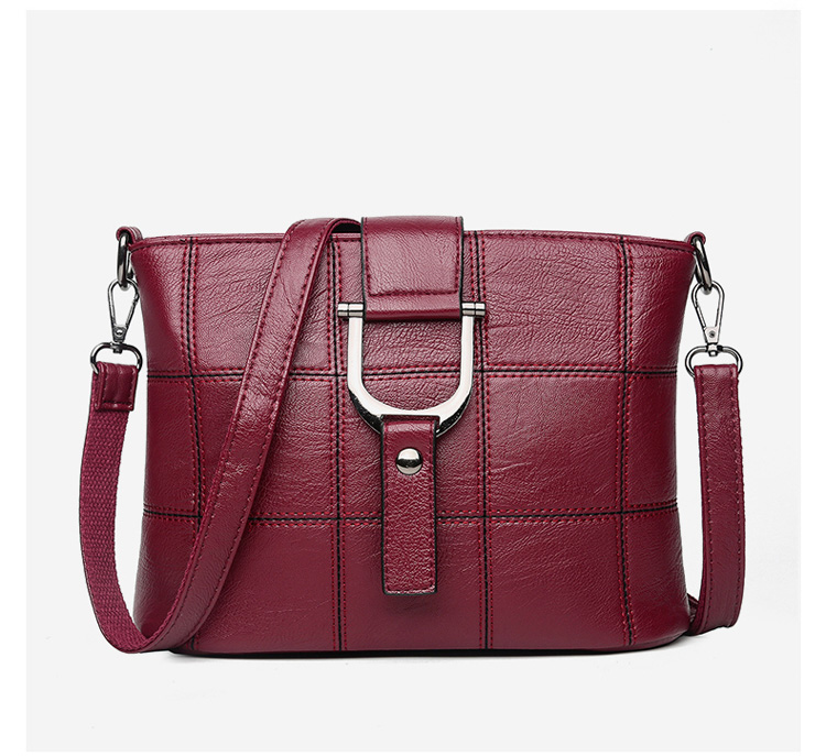 Women Quality Leather Plaid Pattern Handbag 29
