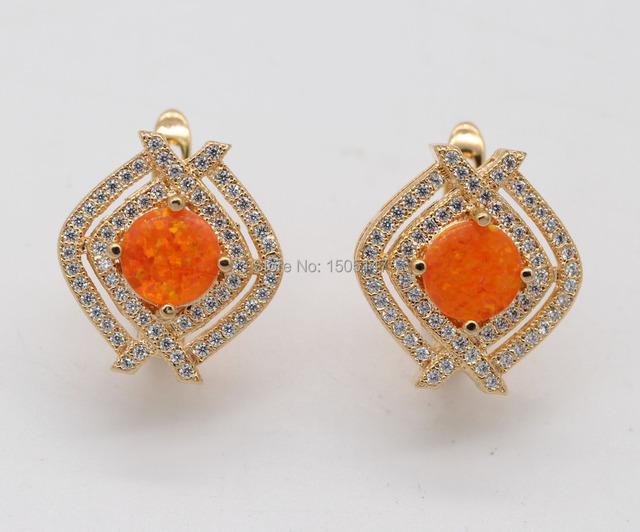 Bonito agradavelmente surpresos jóias atacado laranja Opal de fogo Zircon 925 banhado a ouro brincos
