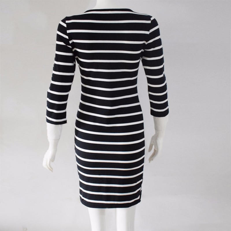 2016 Nowa Wiosna Lato Kobiety Wokół Szyi Mody Czarno-białe Paski Z Długim Rękawem Prosto Plus Rozmiar Casual Dress 13