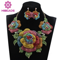 New Bridal Jewelry Sets Wedding Necklace Earrings For Brides Party Accessories New Big Flowers Jewelry Set Women WC002