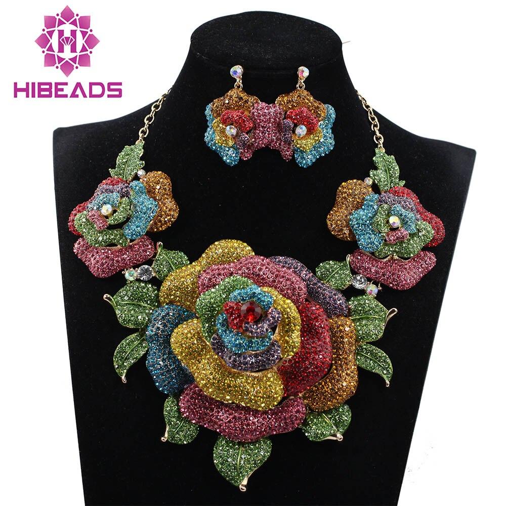 Nouveaux ensembles de bijoux de mariée collier de mariage boucles d'oreilles pour les mariées accessoires de fête nouvelles grandes fleurs ensemble de bijoux femmes WC002