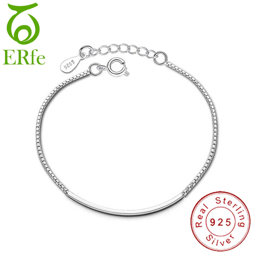 2019 Minimalism Real Pure Sterling Silver 925 Thin Box Chain Bracelet Femme Argent Braclet Girls Hand Accessories Pulceras SB001