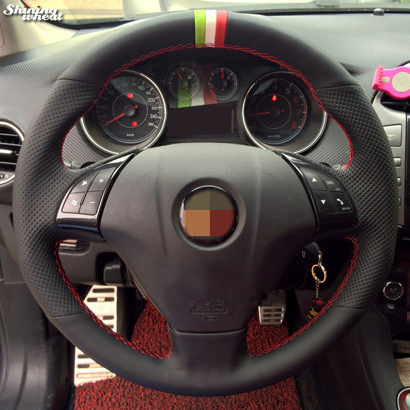 Shining wheat Hand-stitched Black Genuine Leather Car Steering Wheel Cover for Fiat Bravo 2007-2011