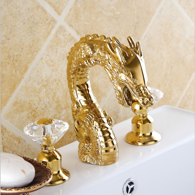 Free Shipping 3 Pieces GOLD CLOUR Dragon Faucet Bathroom Lavatory Sink  Animal Faucet Crystal Handles