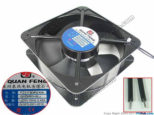 Emacro For QUAN FENG QA20060HBL2 AC 220V 0.45A, 200x200x60mm Server Square Fan emacro for comair rotron pt2b3qdn server round fan ac 115v 30w 172x172x51mm