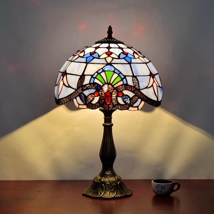 European Baroque retro decorative lamp American Mediterranean blue bedroom bedside lighting Tiffany stained glass eyeshield Desk