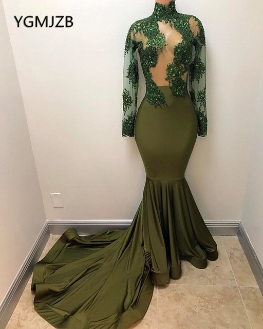 ccd511aba3 US $145.04 44% OFF|Long Sleeve Mermaid Evening Dress 2018 High Neck Crystal  Green Sexy Arabic Dubai Woman Formal Party Gown Prom Dress Abendkleider-in  ...