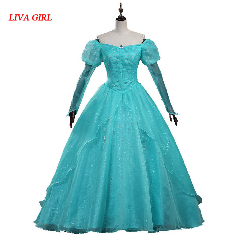 2017 Newest Ariel Cosplay Costume Princess The Little Mermaid Cosplay Dress movie the little mermaid princess ariel costume women ariel fancy dress cosplay dress