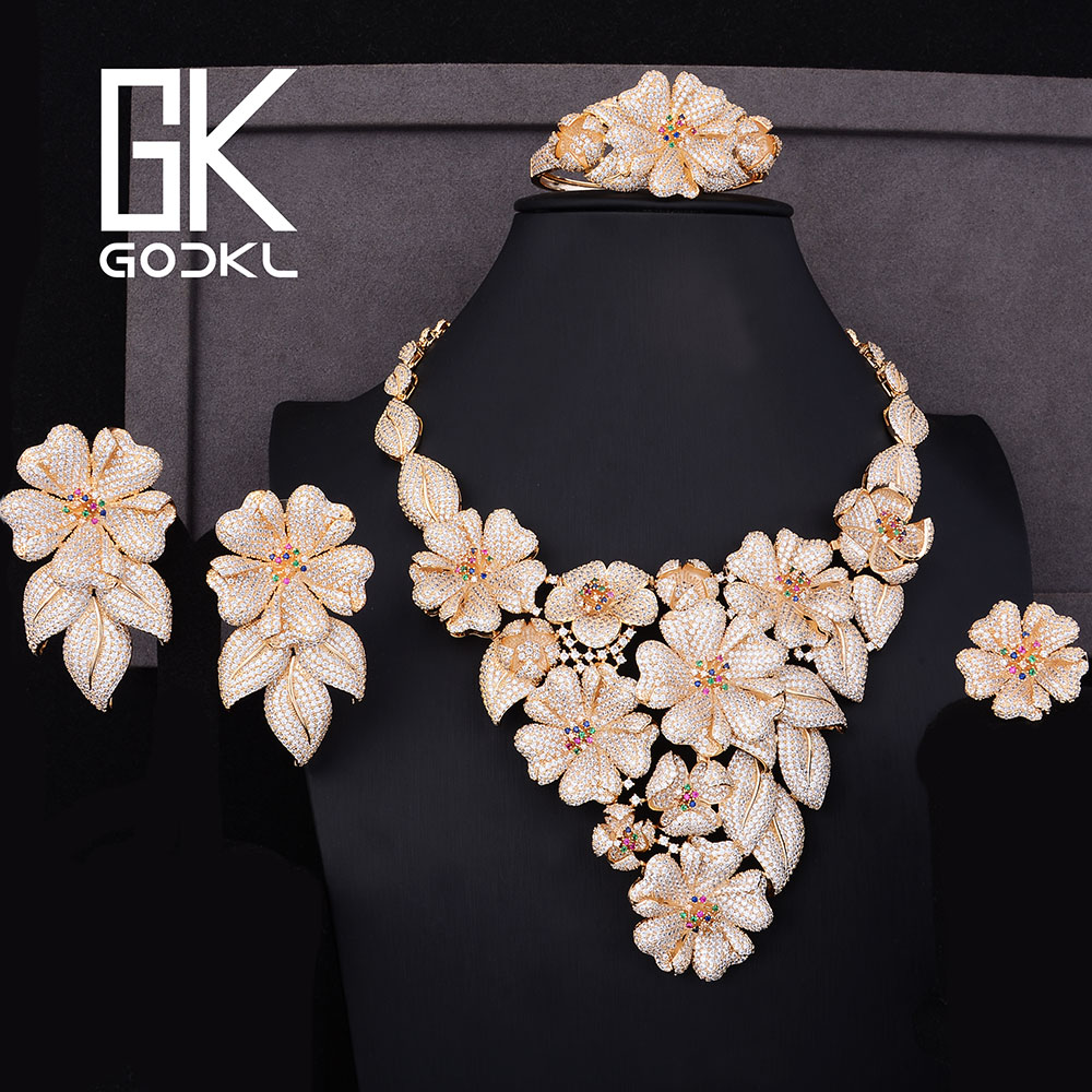 GODKI Luxury Flower Blossom Nigerian Jewelry sets For Women Cubic Zirconia African Beads Jewelry Sets Indian bridal jewelry sets