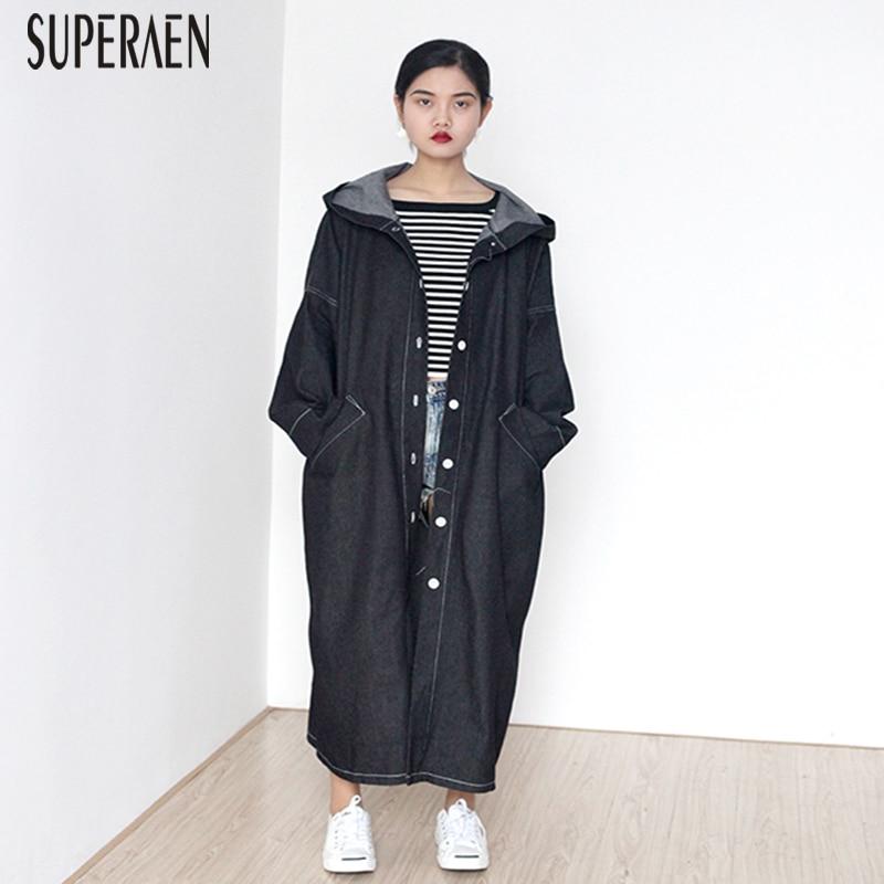 SuperAen New Korean Style Denim   Trench   Coat for Women Casual Fashion Loose Wild Hooded Size Denim Windbreaker Female Autumn 2018