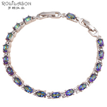 2016 Beautiful Multicolor Crystal Silver filled Mystic zirconia charm bracelets Health Nickel & Lead free Fashion jewelry TBS752