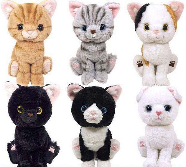 73330dcfc03 Japanese Kitten Cat 20cm Big Eyes Simulation Plush Stuffed Cat Grey White  Black Brown Kitten Soft Toys For Children Kids Gifts-in Stuffed   Plush  Animals ...