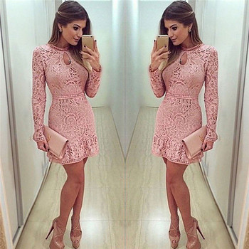 Autumn Winter Women Sexy Pink Lace dress Long Sleeve Slim Beach Short Dress Solid Party Mini Bodycon Dresses vestidos de festa muxu black lace dress women sexy transparent dresses vestidos clothes bodycon sukienki elbise sukienka mini dress long sleeve