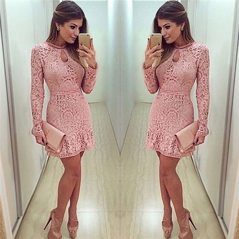 Autumn Winter Women Sexy Pink Lace dress Long Sleeve Slim Beach Short Dress Solid Party Mini Bodycon Dresses vestidos de festa