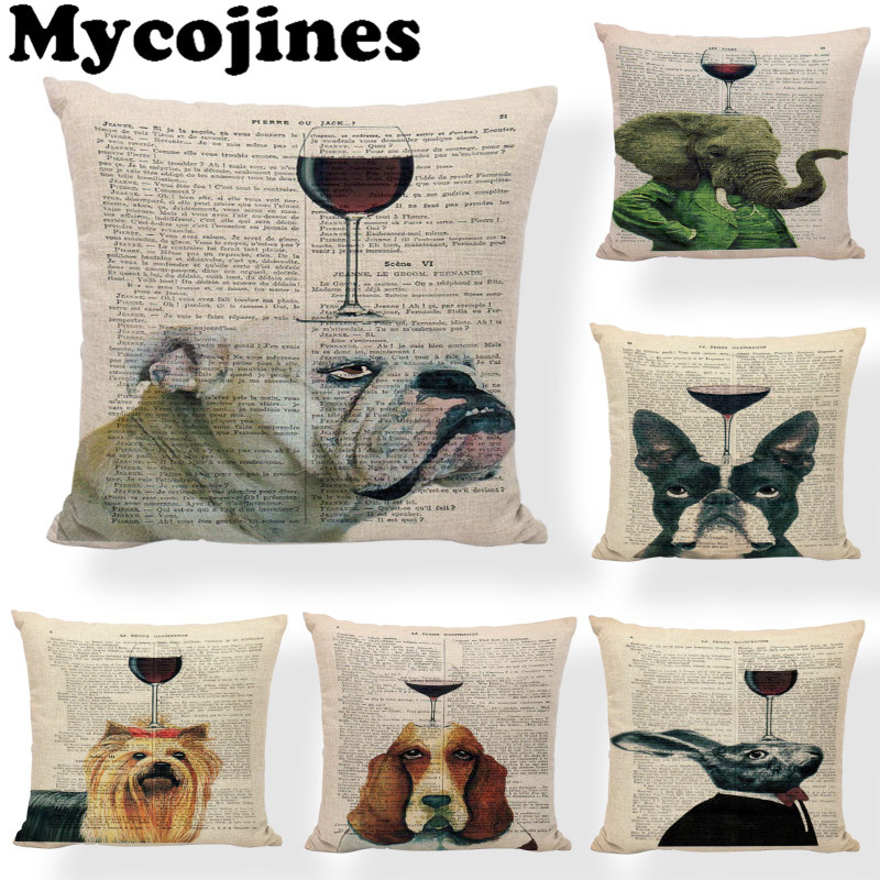 Cushion Cover Retro Newspaper Background Red Wine Cup 45