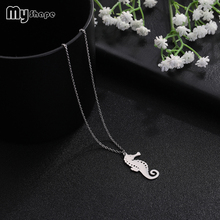 My Shape Jewelry Accessories Stainless Steel Seahorse Geometric Pendant Chains Necklaces