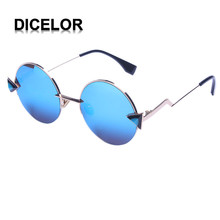 07 DICELOR Mujeres del Diseño de Marca gafas de Sol de Calidad Superior Redondo Espejo Recubrimiento UV400 gafas de Sol de Moda de Las Mujeres 2017 Gafas de sol mujer