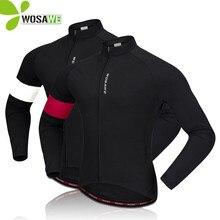 цена на WOSAWE Winter Thermal Fleece Cycling Jerseys Men Bike Bicycle Clothing Windbreaker Warm Up Sportswear Tight Windproof MTB Jersey