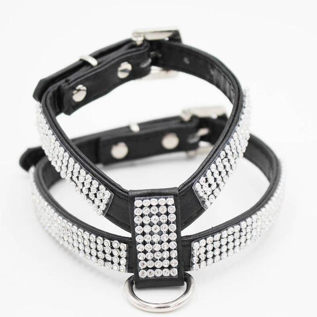 Rhinestone Dog Harness Leather Leash