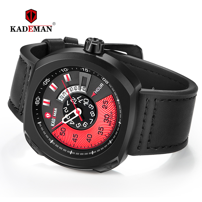 Original Sport Mens Watches NEW Square Quartz Watch Outdoor 30M Waterproof TOP Brand KADEMAN Casual Leather Wristwatches Relogio in Quartz Watches from Watches