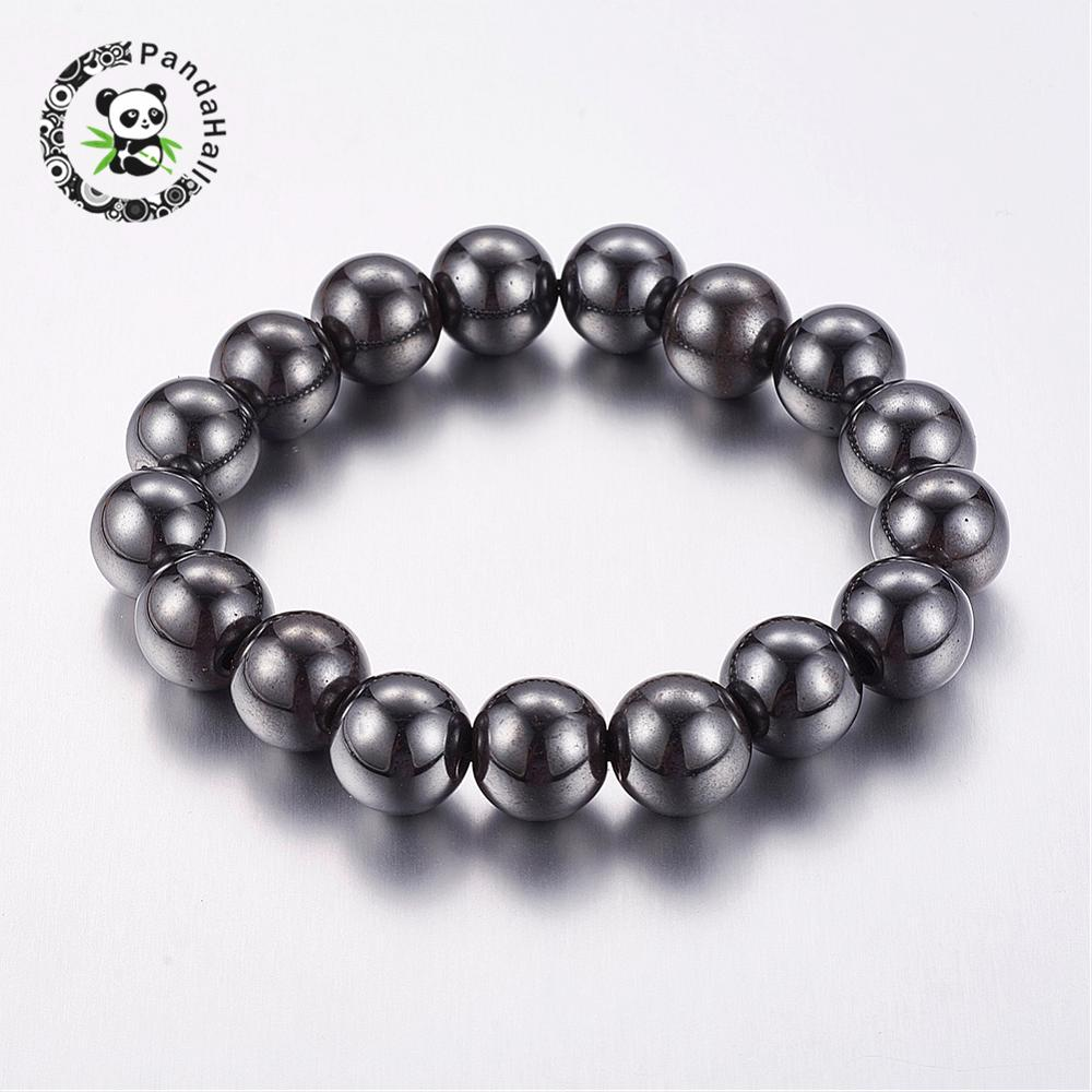 Good Valentines Day Gifts for Him Stretchy Magnetic Synthetic Hematite Bracelet, Beads: 12mm in diameter, about 16pcs/strand,