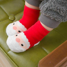 Новые зимние носки мультфильм малыш Рождественские новорожденный мальчики девочки носки хлопок утолщение ребенка Год подарок 0-2Y рождественская для новорожденных носки детские