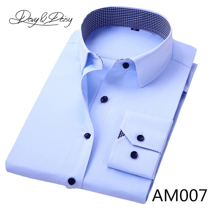 DAVYDAISY High Quality Men Shirt Long Sleeve Twill Solid Formal Business Shirt Brand Man Dress Shirts DS085 13