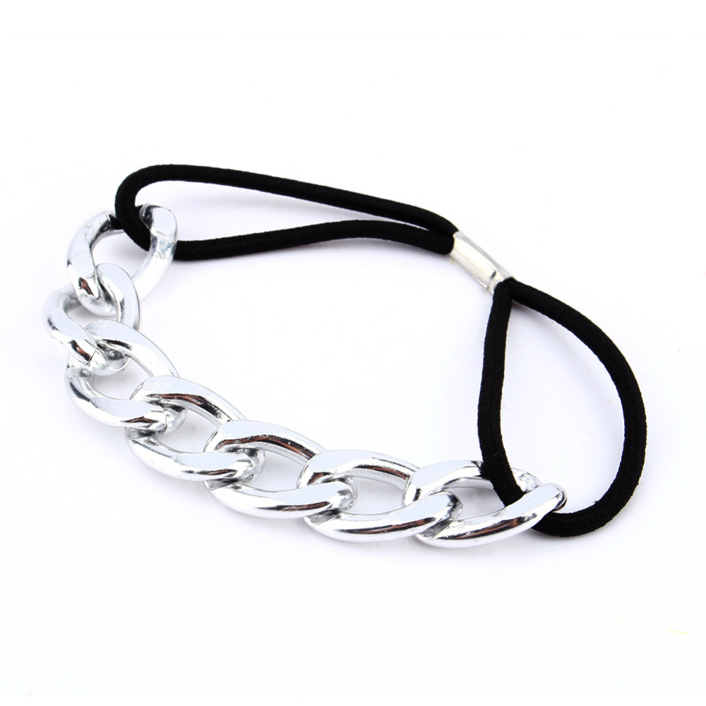 Metal Chain Hair Cuff Band New Women Headband Head Piece Elastic Head Rope Ponytail Holder Hair Accessories Gold Silver Hot