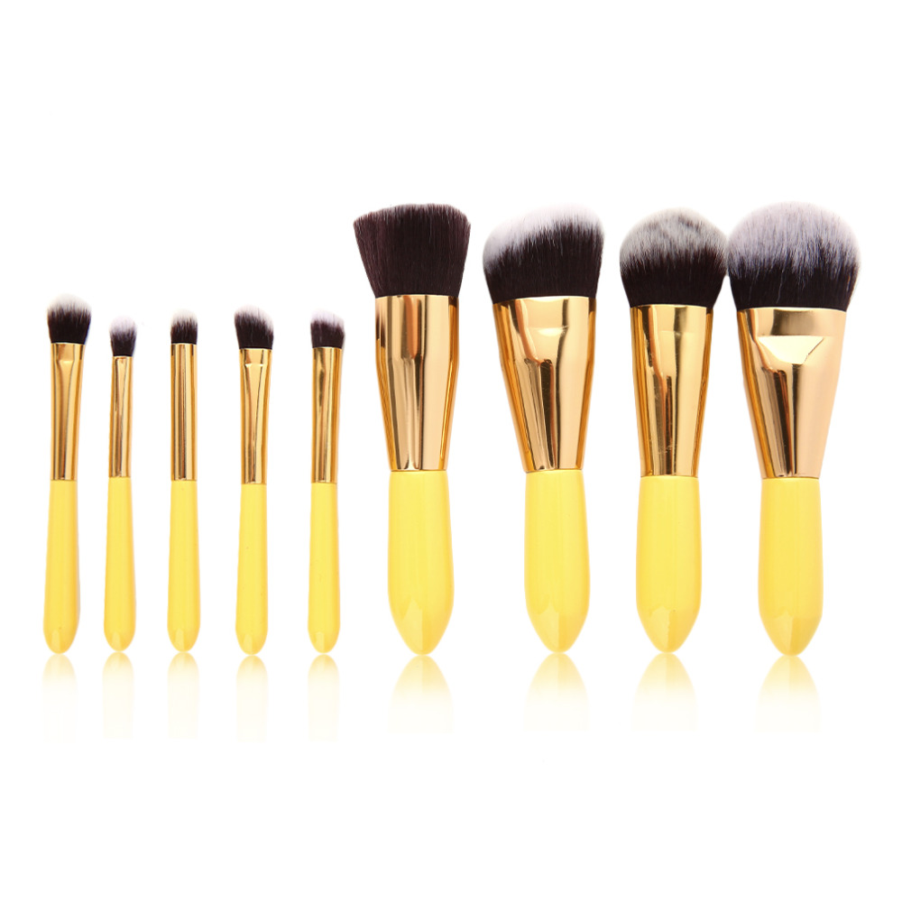 2017   9pcs Makeup Brushes Set Powder Foundation Eyeshadow Eyeliner Lip Brush Tool With Lemon Color Drop Shipping Wholesale 2017 new20pcs foundation eyeshadow eyeliner lip brush tool makeup brushes set powder new