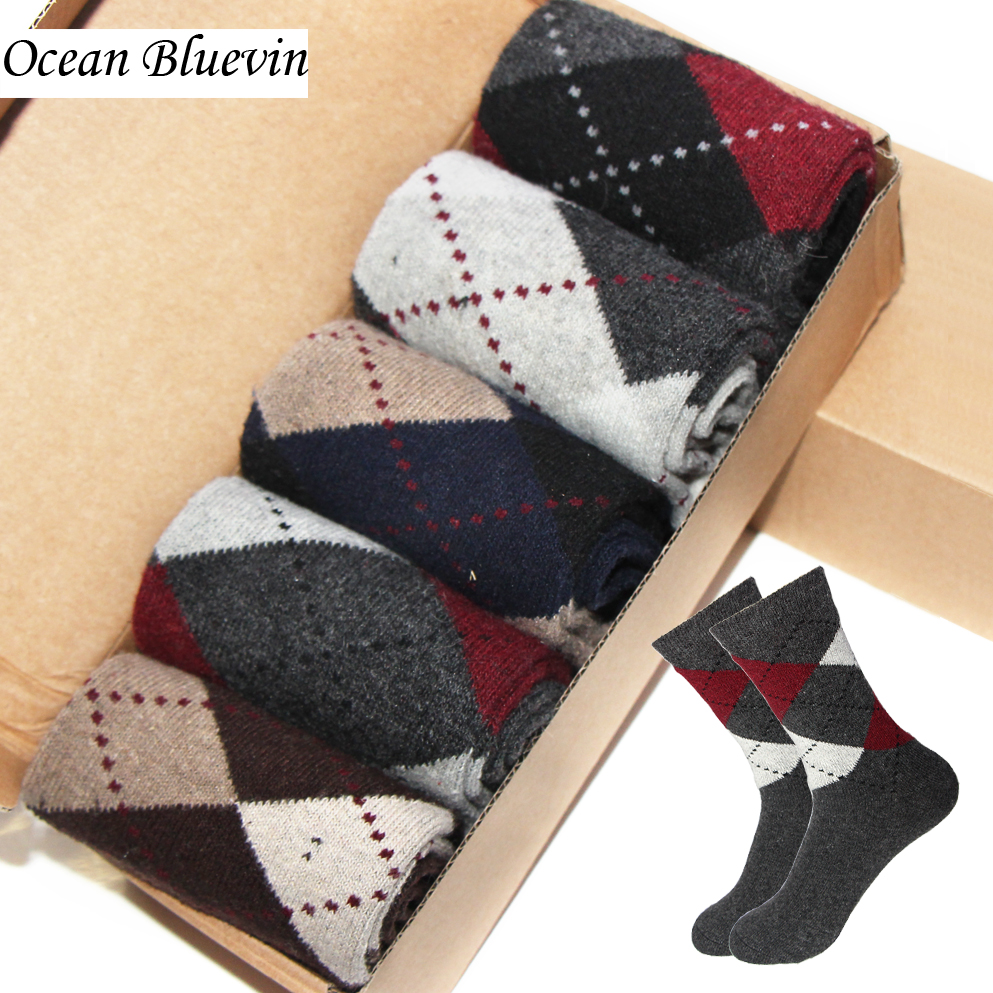 1Pair Rabbit Wool Quality Knitted Men Socks Autumn Winter Warm Thick Style Business Casual Dotted Line Rhombus Pattern Sock Meia