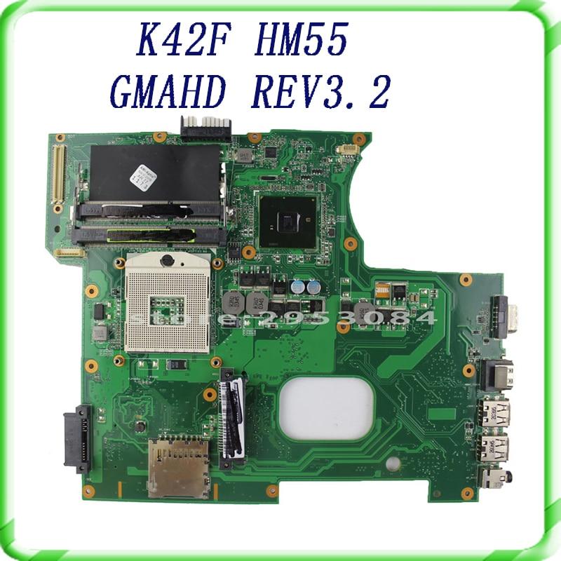 все цены на  For Asus K42F Notebook Motherboard with Rev 3.2 GMA HD HM55 PGA989 DDR3 VRAM Main Board 100% tested& free shipping  онлайн
