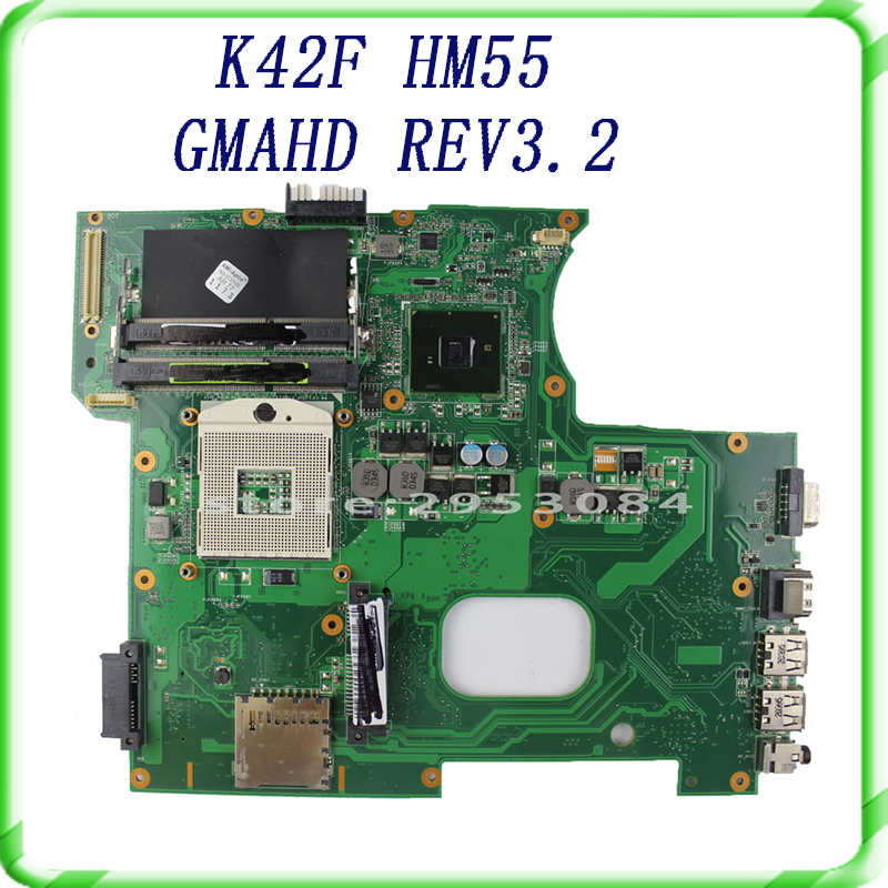 For Asus K42F Notebook Motherboard with Rev 3.2 GMA HD HM55 PGA989 DDR3 VRAM Main Board 100% tested& free shipping 0mnynp mnynp main board fit for dell vostro 3350 notebook pc motherboard hm67 ddr3 gma hd 3000