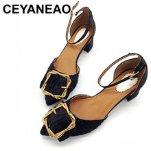 CEYANEAO 2018 New Shoes Women Fashion Female Pumps Buckle Strap Shallow High Heel Shoes Square Heel Ladies Shoes Footwear E805(China)