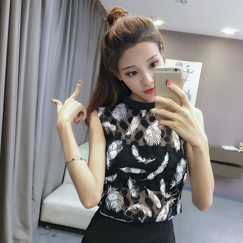 Women's Clothing Honey 2018 Summer Women Sexy Black And White Elegant Lace Blouse Femme Lace Shirt Tops Sleeveless Blusas Feminina Blouse Shirt 317e3
