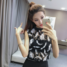 2018 Summer Women sexy black and white Elegant Lace Blouse Femme lace Shirt Tops Sleeveless Blusas Feminina blouse shirt 317E3