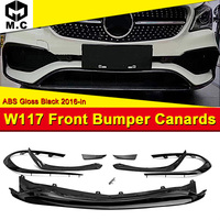 For MercedesMB CLA W117 Sport Front Bumper Lip Trim Splitter Canard Fin Set 8 Pcs Add on Style CLA45 Look ABS Gloss Black 16 18