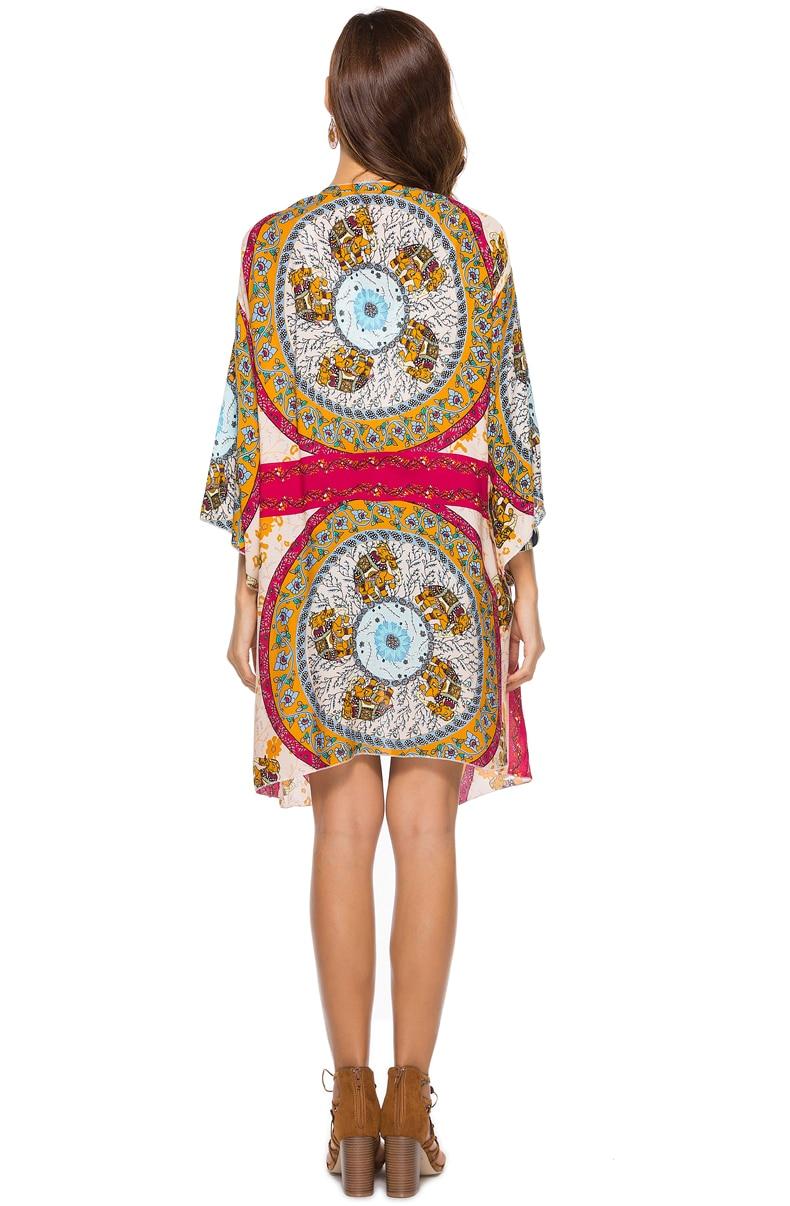50ac5e0ed8b29 Jessie Vinson Plus Size Bohemian Kimono Cardigan Women Beach Swimsuit Cover  Up Boho Elephant Print Loose Blouse Tops Female Coat