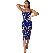 058f2a722e6 2019 Summer Dress Women Sexy Bodycon Midi Dress Chain Printing Basic Tube  Long Slip Dresses Casual